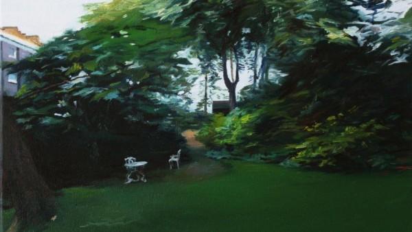 private garden in Kensington, 30x40cm, oil on canvas, 2016